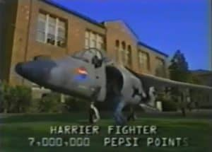 Harrier Jet infront of the a building. Sales promotions run by pepsi in the 1990's
