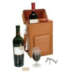 A leather wine carrier is a popular executive gift